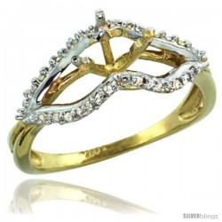14k Gold Semi Mount (for 6mm 1 Carat Size) Diamond Ring w/ 0.13 Carat Brilliant Cut ( H-I Color SI1 Clarity ) Diamonds, 5/16