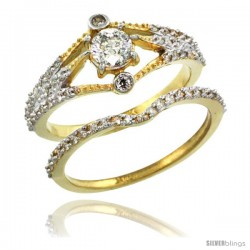 14k Gold 2-Pc. Diamond Engagement Ring Set w/ 0.42 Carat (Center) & 0.36 Carat (Sides) Brilliant Cut ( H-I Color SI1 Clarity )