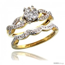 14k Gold 2-Pc. Diamond Engagement Ring Set w/ 0.38 Carat Brilliant Cut ( H-I Color VS2-SI1 Clarity ) Diamonds, 5/16 in. (8mm)