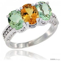 14K White Gold Natural Citrine & Green Amethyst Sides Ring 3-Stone 7x5 mm Oval Diamond Accent