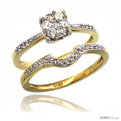 14k Gold 2-Pc. Diamond Engagement Ring Set w/ 0.34 Carat Brilliant Cut ( H-I Color VS2-SI1 Clarity ) Diamonds, 1/4 in. (6mm)