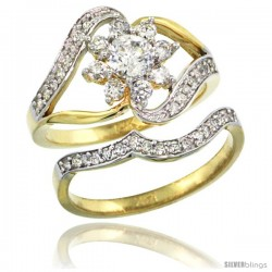 14k Gold 2-Pc. Flower Diamond Engagement Ring Set w/ 0.38 Carat (Center) & 0.61 Carat (Sides) Brilliant Cut ( H-I Color SI1