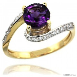 14k Gold Natural Amethyst Swirl Design Ring 6 mm Round Shape Diamond Accent, 1/2 in wide