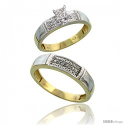 10k Yellow Gold Diamond Engagement Rings 2-Piece Set for Men and Women 0.10 cttw Brilliant Cut, 4.5mm & 5mm wide