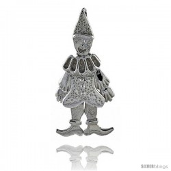 Sterling Silver High Polished Small Movable Clown Pendant