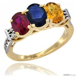 10K Yellow Gold Natural Ruby, Blue Sapphire & Whisky Quartz Ring 3-Stone Oval 7x5 mm Diamond Accent