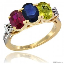 10K Yellow Gold Natural Ruby, Blue Sapphire & Lemon Quartz Ring 3-Stone Oval 7x5 mm Diamond Accent