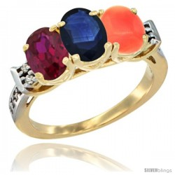 10K Yellow Gold Natural Ruby, Blue Sapphire & Coral Ring 3-Stone Oval 7x5 mm Diamond Accent