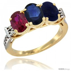 10K Yellow Gold Natural Ruby, Blue Sapphire & Lapis Ring 3-Stone Oval 7x5 mm Diamond Accent