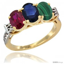10K Yellow Gold Natural Ruby, Blue Sapphire & Malachite Ring 3-Stone Oval 7x5 mm Diamond Accent