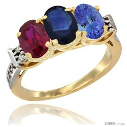 10K Yellow Gold Natural Ruby, Blue Sapphire & Tanzanite Ring 3-Stone Oval 7x5 mm Diamond Accent