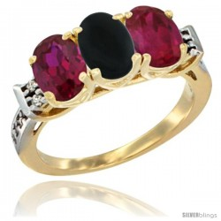 10K Yellow Gold Natural Black Onyx & Ruby Sides Ring 3-Stone Oval 7x5 mm Diamond Accent