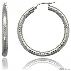 Surgical Steel 1 1/2 in Hoop Earrings Tight Zigzag Embossed Pattern 4 mm tube, feather weigh