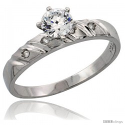 Sterling Silver Engagement Ring CZ Stones 5/32 in. 4 mm