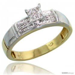 10k Yellow Gold Diamond Engagement Ring 0.07 cttw Brilliant Cut, 3/16 in wide