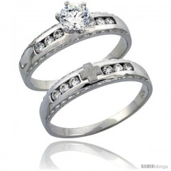 Sterling Silver 2-Piece Engagement Ring Set CZ Stones Rhodium finish, 3/16 in. 5 mm