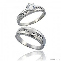 Sterling Silver 2-Piece CZ Ring Set 5mm Engagement Ring & 7mm Man's Wedding Band