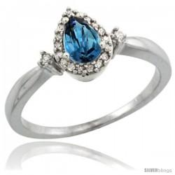 10k White Gold Diamond London Blue Topaz Ring 0.33 ct Tear Drop 6x4 Stone 3/8 in wide