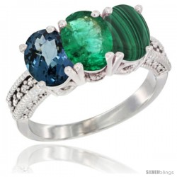 10K White Gold Natural London Blue Topaz, Emerald & Malachite Ring 3-Stone Oval 7x5 mm Diamond Accent