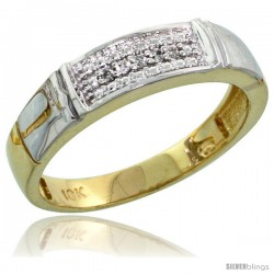 10k Yellow Gold Ladies Diamond Wedding Band Ring 0.03 cttw Brilliant Cut, 3/16 in wide