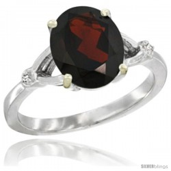 10k White Gold Diamond Garnet Ring 2.4 ct Oval Stone 10x8 mm, 3/8 in wide