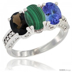 14K White Gold Natural Smoky Topaz, Malachite & Tanzanite Ring 3-Stone 7x5 mm Oval Diamond Accent