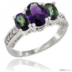 14k White Gold Ladies Oval Natural Amethyst 3-Stone Ring with Mystic Topaz Sides Diamond Accent