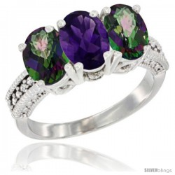 14K White Gold Natural Amethyst & Mystic Topaz Ring 3-Stone 7x5 mm Oval Diamond Accent