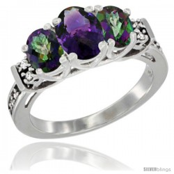 14K White Gold Natural Amethyst & Mystic Topaz Ring 3-Stone Oval with Diamond Accent
