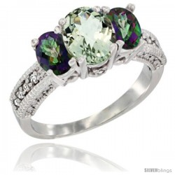 14k White Gold Ladies Oval Natural Green Amethyst 3-Stone Ring with Mystic Topaz Sides Diamond Accent