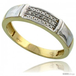 10k Yellow Gold Mens Diamond Wedding Band Ring 0.03 cttw Brilliant Cut, 3/16 in wide