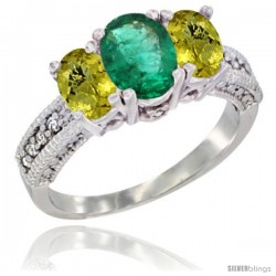14k White Gold Ladies Oval Natural Emerald 3-Stone Ring with Lemon Quartz Sides Diamond Accent
