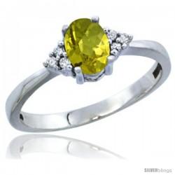 14k White Gold Ladies Natural Lemon Quartz Ring oval 6x4 Stone Diamond Accent