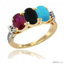10K Yellow Gold Natural Ruby, Black Onyx & Turquoise Ring 3-Stone Oval 7x5 mm Diamond Accent