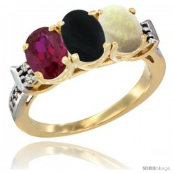 10K Yellow Gold Natural Ruby, Black Onyx & Opal Ring 3-Stone Oval 7x5 mm Diamond Accent