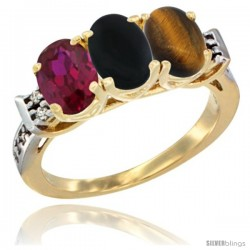 10K Yellow Gold Natural Ruby, Black Onyx & Tiger Eye Ring 3-Stone Oval 7x5 mm Diamond Accent