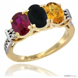 10K Yellow Gold Natural Ruby, Black Onyx & Whisky Quartz Ring 3-Stone Oval 7x5 mm Diamond Accent