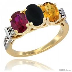 10K Yellow Gold Natural Ruby, Black Onyx & Whisky Quartz Ring 3-Stone Oval 7x5 mm Diamond Accent