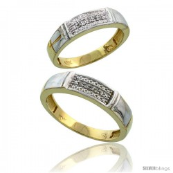 10k Yellow Gold Diamond Wedding Rings 2-Piece set for him 5 mm & Her 4.5 mm 0.06 cttw Brilliant Cut