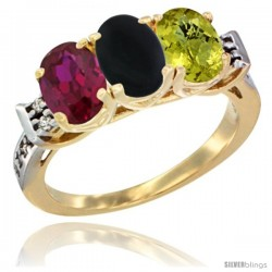 10K Yellow Gold Natural Ruby, Black Onyx & Lemon Quartz Ring 3-Stone Oval 7x5 mm Diamond Accent