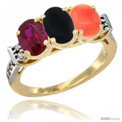 10K Yellow Gold Natural Ruby, Black Onyx & Coral Ring 3-Stone Oval 7x5 mm Diamond Accent
