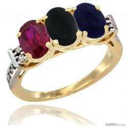 10K Yellow Gold Natural Ruby, Black Onyx & Lapis Ring 3-Stone Oval 7x5 mm Diamond Accent