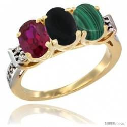10K Yellow Gold Natural Ruby, Black Onyx & Malachite Ring 3-Stone Oval 7x5 mm Diamond Accent
