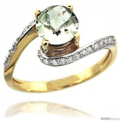 14k Gold Natural Green Amethyst Swirl Design Ring 6 mm Round Shape Diamond Accent, 1/2 in wide
