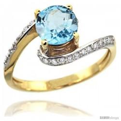 14k Gold Sky Blue Topaz Swirl Design Ring 0.80 Carats Round Shape 0.41 cttw Diamonds, 1/2 in