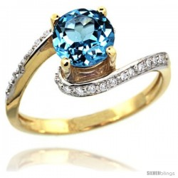 14k Gold Natural Swiss Blue Topaz Swirl Design Ring 6 mm Round Shape Diamond Accent, 1/2 in wide