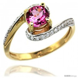 14k Gold Natural Pink Topaz Swirl Design Ring 6 mm Round Shape Diamond Accent, 1/2 in wide