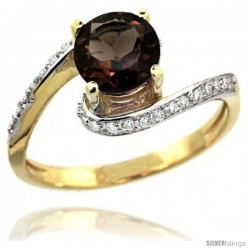 14k Gold Natural Smoky Topaz Swirl Design Ring 6 mm Round Shape Diamond Accent, 1/2 in wide