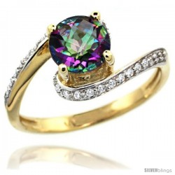 14k Gold Natural Mystic Topaz Swirl Design Ring 6 mm Round Shape Diamond Accent, 1/2 in wide