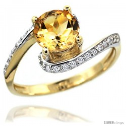 14k Gold Natural Citrine Swirl Design Ring 6 mm Round Shape Diamond Accent, 1/2 in wide